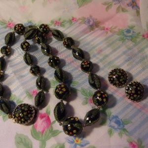 Vtg Black Green Bead Necklace Clip Earrings Set
